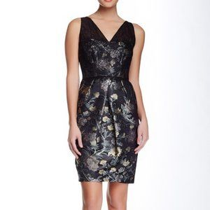 Kay Unger Lace Bodice Dress in Black Multi NWT